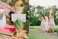 Peach Bridal Luncheon Ideas- love the use of the artichoke for a place card holder