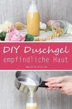 Duschgel selber machen ist einfach. Unser DIY Duschgel beinhaltet nur natürliche Zusätze, es ist für empfindliche Haut geeignet. Mit DIY Kosmetik sparst du dir Geld und Chemikalien. Probier es aus, es ist ganz einfach. #Duschgel #DIY
