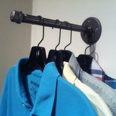 When you need a lot of clothing storage space, we've got you covered. Check out William Roberts Vintage's sturdy industrial pipe large wall clothing rack. Best Clothes Hangers, Diy Clothes Rack, Clothes Hooks, Hanging Clothes, Clothes Rail, Rack Design, Store Design, Garderobe Design, Garment Racks