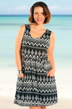 Always For Me Diamond Chevron Plus Size Dress-202616W-Black-White