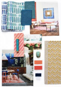 Pantone's Colour of the Year 2019 is Living Coral. Moodboards to explore our interpretation of Pantone's Color of the Year colour harmonies. Sample Boards, Interior Design Presentation, Mood Colors, Paint Companies, Color Harmony, Contemporary Rugs, Color Of The Year, Portfolio Design, Interior Styling