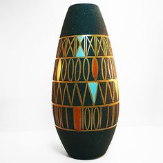 West german pottery Vase decor Messina by Schloßberg from 1963 in best condition