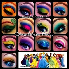 #tbt to my Disney Princess Makeup looks!  For those of you who are dressing up as a Disney Princess for Halloween I hope these can be of inspiration!  I have TUTORIALS on all of these looks in my Disney Princess playlist on my YouTube channel \glittergirlc\ (link in bio). It has tutorials on all 13 princesses  Sofia the First who I just did a look on!  I hope you like them!!