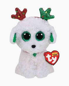 From the Ty Beanie Boos collection. Ty Stuffed Animals, Plush Animals, Beanie Outfit, Beanie Boo Dogs, Beanie Babies, Christmas Beanie Boos, Ty Beanie Boos Collection, Beanie Boo Party, Ty Toys