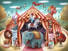 The circus published by Crocodile Creek - Richard Johnson Illustration Circus Art, Circus Theme, Circus Illustration, Circo Vintage, Carnival Posters, Vintage Circus, Whimsical Art, Painting For Kids, Art Lessons
