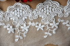 Cotton Tulle Lace Trim Retro Embroideried Lace 3.54 by Lacebeauty, $3.99