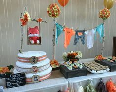 Diaper Cake, baby shower. Fox theme Diaper cake.  Woodland Animals theme. Baby clothesline. Created by Cyd Haltom.