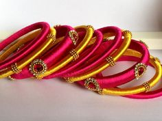 Silk Thread Bangles Indian Bangles For Traditional by PoorniJewels