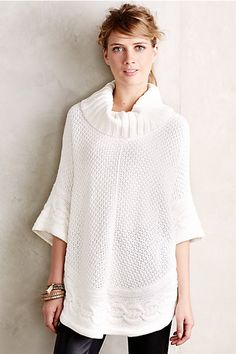 Gamine Cable Poncho #anthropologie