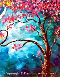 Love Trees at Night II - Syracuse, NY - Liverpool Painting Class - Painting with a Twist