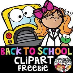 Back to School Clipart Freebie {Klassenzimmer erstellen} - Brad Pitt Back To School Images, Back To School Clipart, Math Clipart, Classroom Clipart, School Fun, First Day Of School, School Ideas, Kindergarten Clipart, Free Clipart For Teachers