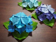 おりがみ【立体・むずかしめ】アジサイ(紫陽花)の折り方、大きいサイズ | 知恵の小袋