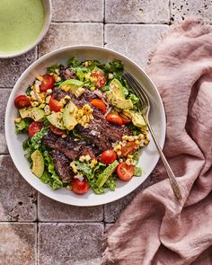 Loaded Steak Salad Bowl with Yogurt Green Goddess - What's Gaby Cooking Beef Recipes, Salad Recipes, Cooking Recipes, Healthy Recipes, Beef Meals, Healthy Food, Main Dish Salads, Dinner Salads, Main Dishes