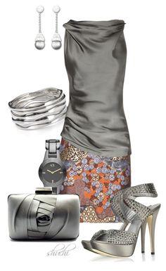 """Satin Gray-Rust"" by shuchiu ❤ liked on Polyvore featuring Proenza Schouler, Aqua, Armani Exchange, Franchi, Donna Karan, Loriblu, Swarovski, mini skirts, metallic skirts and silver"