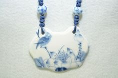 Diy Jewelry : Bird and lotus charm necklace plate pendant necklace ceramic jewelry unique handmade gift broken china jewelry birthday gift for her women -Read More – Fused Glass Jewelry, Bird Jewelry, Ceramic Jewelry, Jewelry Crafts, Jewelery, Unique Jewelry, Found Object Jewelry, Broken China Jewelry, Silverware Jewelry