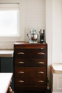 An Old Home with a New Life in Tacoma, Washington – Design*Sponge Decor Interior Design, Interior Decorating, My First Apartment, Tufted Sofa, Dresser As Nightstand, Home Kitchens, Cottage Kitchens, Old Houses, Decoration