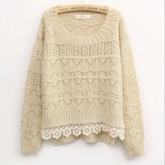 Beige Sweet Vintage Hollow Short Sweater | fashionstyle - Clothing on ArtFire
