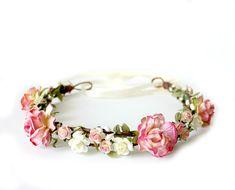 Strawberry Pink Flower Crown, rustic wedding, Bohemian,Woodland. spring, summer,  bridal headpiece, pink rose - WILD ROMANCE