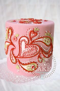 Pink & red hearts & paisley print cake