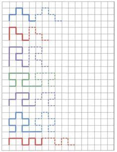 Actividades De Grafismos Simples Y Complejos. Tiras Graph Paper Drawings, Graph Paper Art, Learning Through Play, Home Schooling, Preschool Activities, Teaching, Lettering, Writing, Math