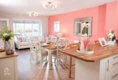 Pink and white kitchen/family/dining room, country style, new home, 4 bedroom townhouse.