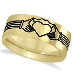 Unisex Claddagh Wedding Band in Plain Metal 14k Yellow Gold 8mm, Size: 8.5