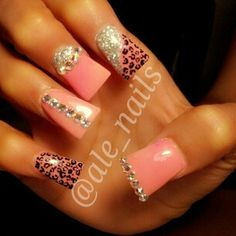 Pink flared leopard nails