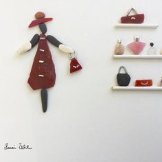 #pebbleart, #uniqueartwork, #ladyfashion, #pursecollection, #parfum, #framedartwork, #ladyhat, #etsyshop, #giftideas, #ooak, #originalartwork, #mothersdaygift