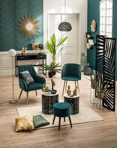 Art Deco Living Room, Chic Living Room, Home Living Room, Living Room Turquoise, Living Room Green, Tropical Interior, Teen Bedroom Designs, Room Decor Bedroom, Colorful Decor