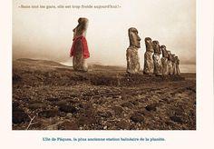 °L'île de Pâques, la plus ancienne station balnéaire de la planète. - photomontage de Ponk et Replonk -@ChansLau