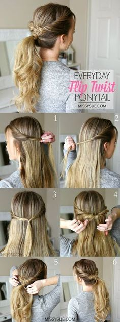 Everyday Flip Twist Ponytail Hair Tutorial: Ponytails are such a great go-to hairstyle. They're quick, easy, and get all of your hair up and out of the way.Everyday Flip Twist Ponytail, On a regular basis Flip Twist Ponytail ❁l o v e l i okay e l o l Easy To Do Hairstyles, Short Hairstyles, 5 Minute Hairstyles, Simple Ponytail Hairstyles, Ponytail Hairstyles Tutorial, 1920s Hairstyles, Easy Everyday Hairstyles, Step By Step Hairstyles, Amazing Hairstyles