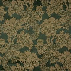Palatial Hunter & Sage Green Stroheim Caldecott Damask Upholstery Drapery Fabric - Eat your heart out, Scarlett O'Hara!