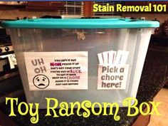 Toy ransom box to help motivate kids to pick up after themselves {on Stain Removal 101}
