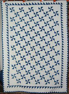 Vintage 1890's Indigo Blue White Pinwheels Antique Quilt Sawtooth Border - Blue & White, again - love it!