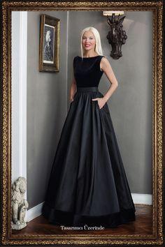 Siren Ertan ISTANBUL Kadife Ve Tafta Siyah Uzun Elbise