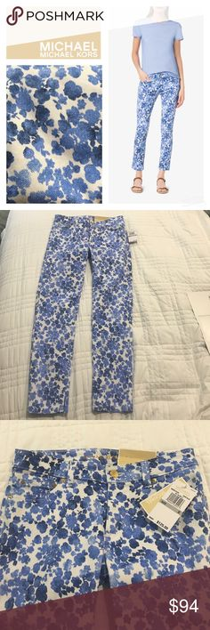 NWT Izzy Cropped Skinny Crew Blue Pants Brand new with tags, no defects! A free-spirited floral print decorates these neatly tailored trousers. Cut for a slim fit,  five-pocket design is finished with an ankle crop. Very pretty! All of my items come from a clean, smoke-free home! Check out my closet for many more items and save when you bundle! Please let me know if you have any questions! MICHAEL Michael Kors Pants Ankle & Cropped