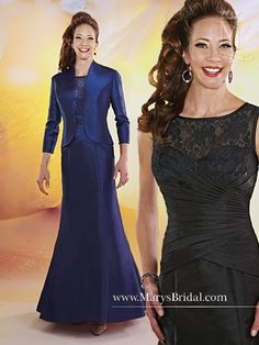 Collection:  Mothers - Beautiful Mothers     Description: A-line taffeta mother of the bride gown with bateau neckline, lace on top bodice with keyhole back, crossed pleates on bodice forming an inverted basque waistline, zipper back, and a 3/4 length sleeved jacket.   Color:  Shown in Black and Sapphire. Available in all Taffeta colors.   Sizes:  2-30  Fabric:  Taffeta/Lace    Accessories/Notes:  Jacket