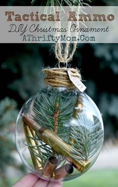 Diy christmas ornaments 63754150950851499 - Tactical Ammo DIY Christmas Ornament, perfect for the outdoors man, hunter, shooter in your life. Man or Boy Christmas Ornaments for those who love their gun Source by athriftymom Diy Christmas Ornaments, Christmas Projects, Holiday Crafts, Christmas Holidays, Christmas Bulbs, Diy Christmas Gifts For Men, Outdoor Christmas, Homemade Ornaments, Burlap Christmas