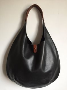 Large black and tan leather women's underarm bag tote shopper