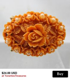 Vintage Coral Celluloid Brooch Molded Flowers Seed Pearls