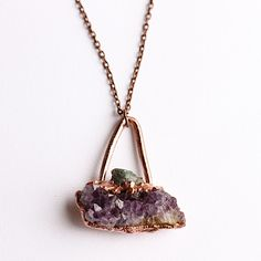 Raw Emerald Amethyst Cluster Copper Electroformed Necklace / Amethyst Geode Raw Emerald Pendant / Witchy Raw Crystal Pendant by CrystalVisionGems on Etsy https://www.etsy.com/listing/487713929/raw-emerald-amethyst-cluster-copper