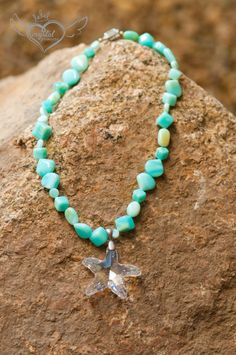 SALE - Swarovski Crystal and Peruvian Opal Necklace by CrystalPrincess13 on Etsy
