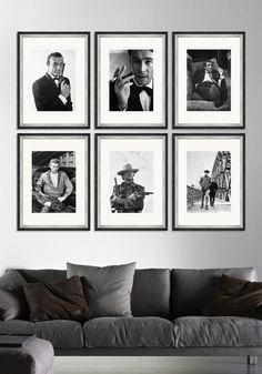 A collection of classic actors photography posters with black and silver leaf frame.