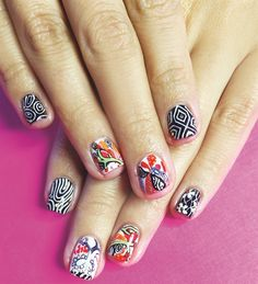 <p>The artist maintains a binder of various backgrounds that she uses to photograph nails against.</p>