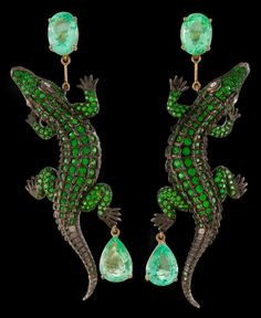 Lydia Courteille Tsavorite, Diamond, and Tourmaline Alligator Earrings, Cayen Collection.