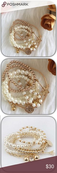 NWT Girly White/Gold Pearl Eiffel Tower Bracelet This is super sweet! It is so pretty! It is very Dainty! Dress up or down it is perfect for any outfit! Boutique Jewelry Bracelets