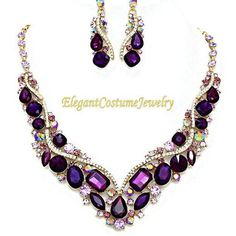 Purple Bridal Crystal Prom Statement Necklace Set Chunky Elegant Costume Jewelry #ElegantCostumeJewelry #StatementJewelryChunky