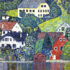 Premium poster Houses in Unterach Gustav Klimt, Art Klimt, Diy Painting, Painting Prints, Art Prints, Abstract Paintings, Wassily Kandinsky, Oil On Canvas, Canvas Art