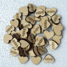 """50pcs/lot Romantic Wooden Heart \""""MrandMrs\"""" Laser Cut Rustic Wood Natural DIY Crafts Wedding Table Scatter Decorative Ornaments >>> Want to know more, click on the image."""