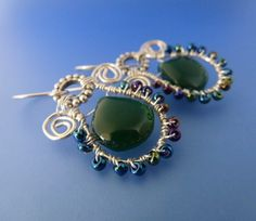 Green onyx sterling silver wire wrapped earrings